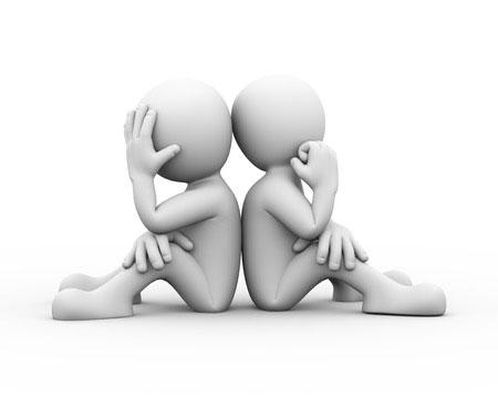 Paartherapie startet oft Rücken an Rücken - im Denken und Fühlen.